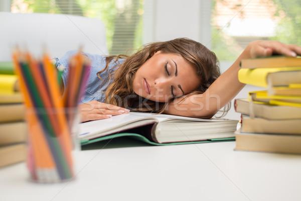 Сток-фото: устал · студент · девушки · портрет · красивой