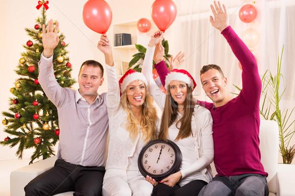 Nowy rok szczęśliwy znajomych domu wnętrza Zdjęcia stock © MilanMarkovic78