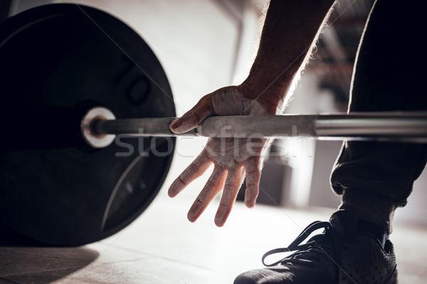 Gotowy treningu silne ręce podnoszenie ciężarów Zdjęcia stock © MilanMarkovic78