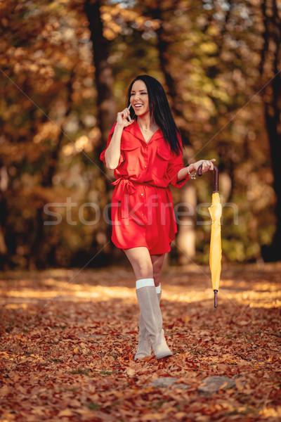 Phoning In Autumn Park Stock photo © MilanMarkovic78