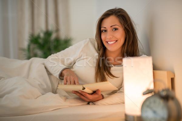 Reading Past Bedtime Stock photo © MilanMarkovic78