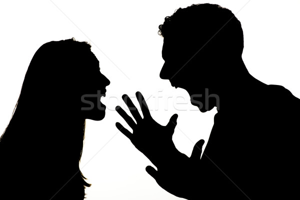 Boos paar silhouet geweld Stockfoto © MilanMarkovic78