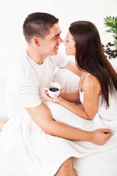 Sabah iyi romantik içme kahve yatak Stok fotoğraf © MilanMarkovic78