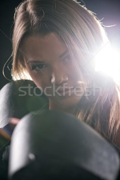 Boks genç güzel kız ayakta Stok fotoğraf © MilanMarkovic78
