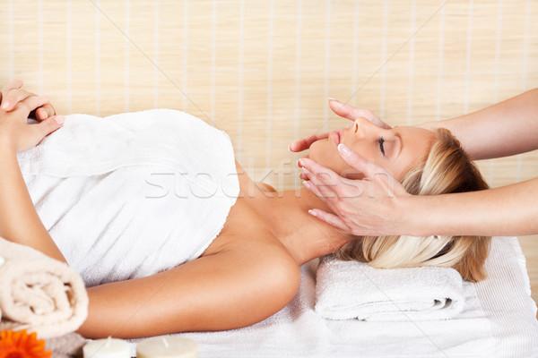 Stockfoto: Hoofd · massage · jonge · mooie · vrouw · spa · centrum
