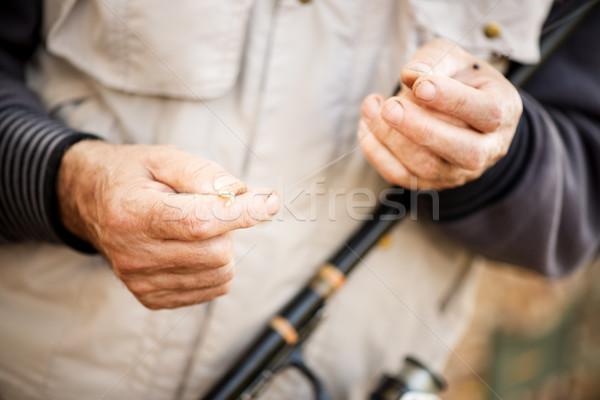 Worm vissen haak visser sport Stockfoto © MilanMarkovic78