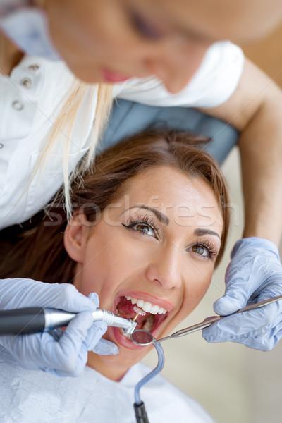 Stockfoto: Tandarts · behandeling · mooie · jonge · vrouw · bezoeken
