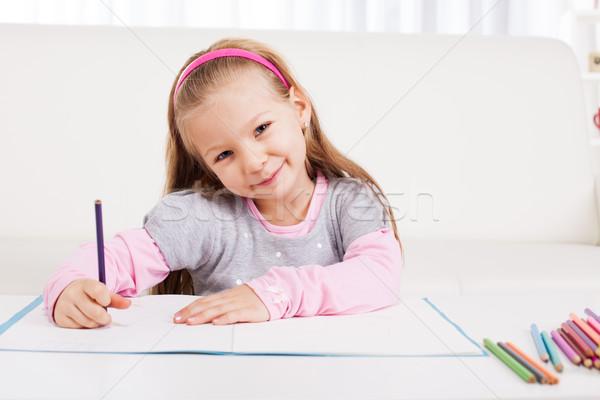 Little girl bonitinho desenho lápis casa Foto stock © MilanMarkovic78