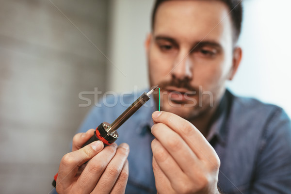 Soldering Of Electronic Copper Wire Stock photo © MilanMarkovic78