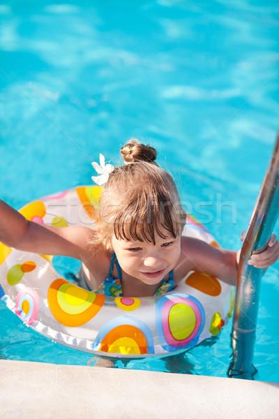 Mutlu küçük kız havuz dışarı merdiven su Stok fotoğraf © MilanMarkovic78