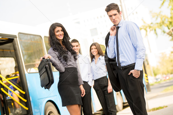 Young  Business People Waiting For The City Bus Stock photo © MilanMarkovic78