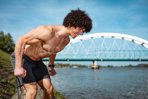 Scharfeinstellung muskuläre junger Mann nackt Torso starken Stock foto © MilanMarkovic78