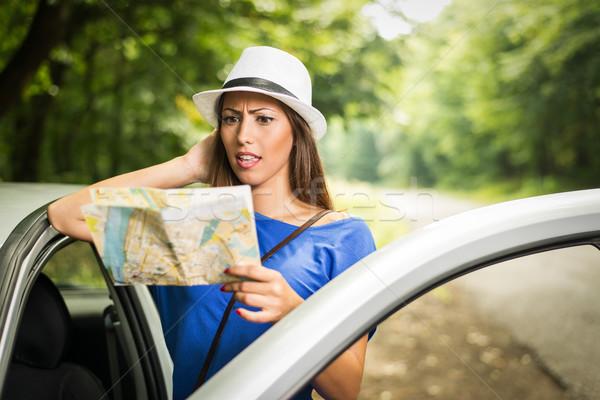 Verloren meisje reizen verward mooie vrouw permanente Stockfoto © MilanMarkovic78