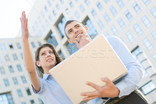 Business partner giovani business Coppia laptop piedi Foto d'archivio © MilanMarkovic78