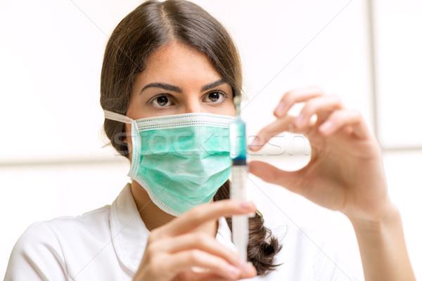 Vaccinatie mooie jonge verpleegkundige injectie anesthesie Stockfoto © MilanMarkovic78