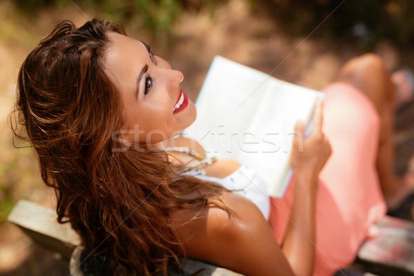 Foto stock: Menina · leitura · livro · floresta · mulher · jovem · relaxante