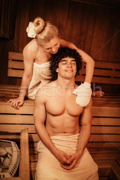 Casal sauna belo relaxante Foto stock © MilanMarkovic78