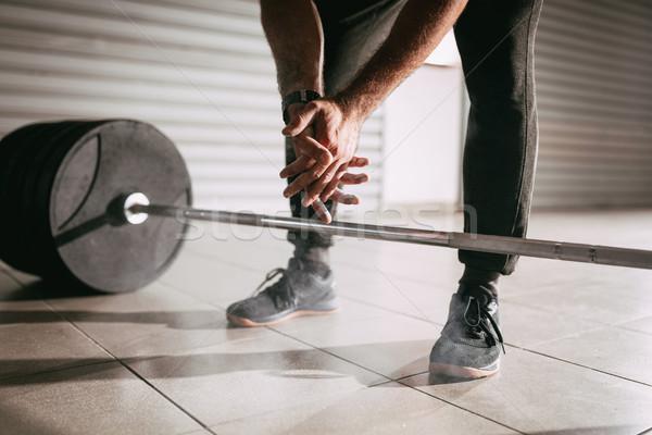 Stock foto: Bereit · Training · starken · Hände · Gewichtheben
