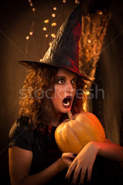 Halloween witch portret młoda kobieta bać twarz Zdjęcia stock © MilanMarkovic78