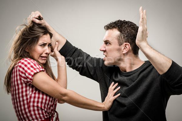 сердиться агрессивный муж женщину страхом Сток-фото © MilanMarkovic78