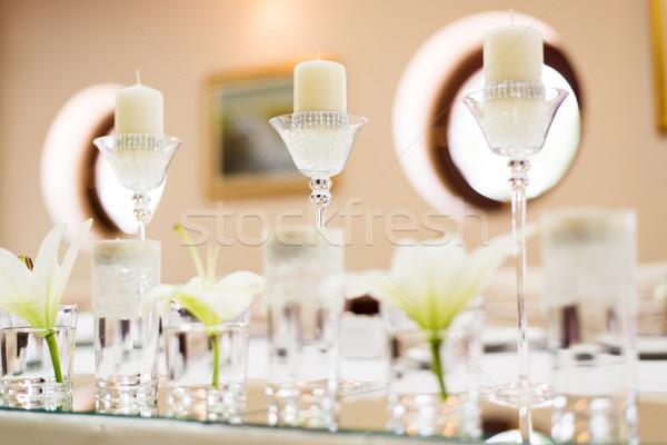 свадьба таблице украшение цветы свечу изделия из стекла Сток-фото © MilanMarkovic78