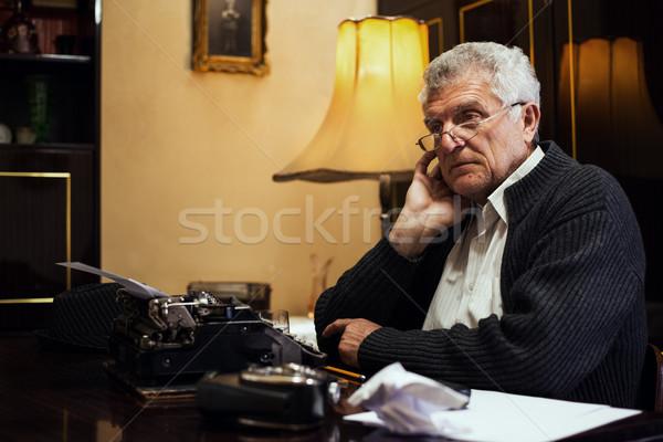 Wistful Retro Senior Man Writer Stock photo © MilanMarkovic78