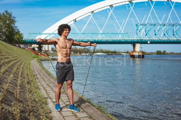 Gespierd jonge man naakt torso sterke Stockfoto © MilanMarkovic78
