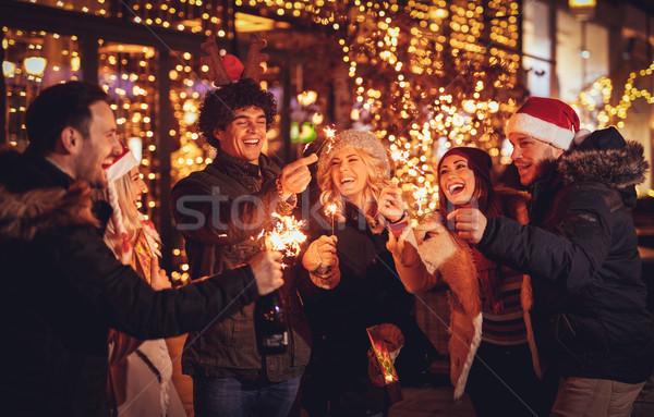 Vrienden nieuwjaar partij drie paar genieten Stockfoto © MilanMarkovic78