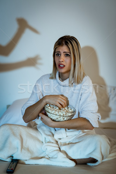 Girl Watching Horror Movie Stock photo © MilanMarkovic78