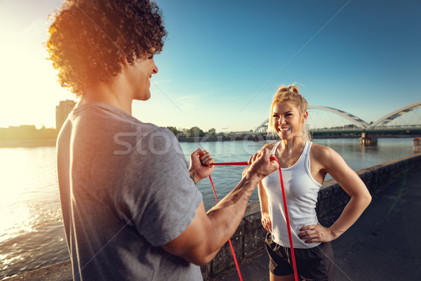 Altijd beter samen jonge fitness paar Stockfoto © MilanMarkovic78