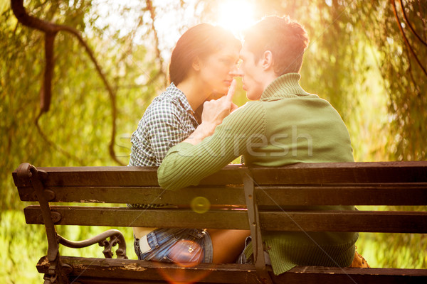 Kisses On A Park Bench Stock photo © MilanMarkovic78