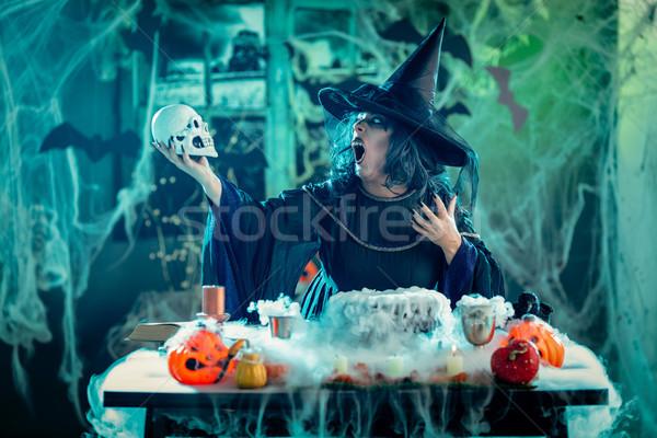 Witch Tellis Magic Words To Skull Stock photo © MilanMarkovic78