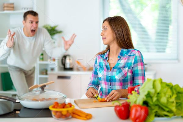 Paar keuken conflict ruzie huiselijk Stockfoto © MilanMarkovic78