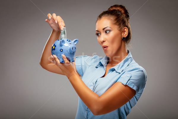Foto stock: Empresária · piggy · bank · bem · sucedido · dinheiro · financiar