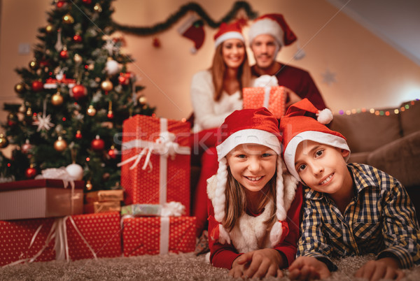 Happy Family At Christmas Holiday Stock photo © MilanMarkovic78