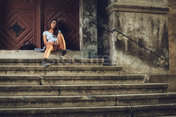 Desperate Woman On The Stears Stock photo © MilanMarkovic78
