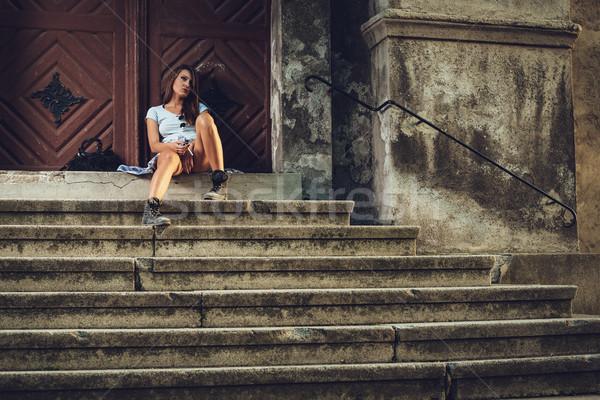 Zdesperowany kobieta dość młodych smutne krótki Zdjęcia stock © MilanMarkovic78