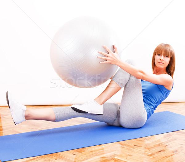 пилатес подготовки фитнес девушки осуществлять мяча Сток-фото © MilanMarkovic78