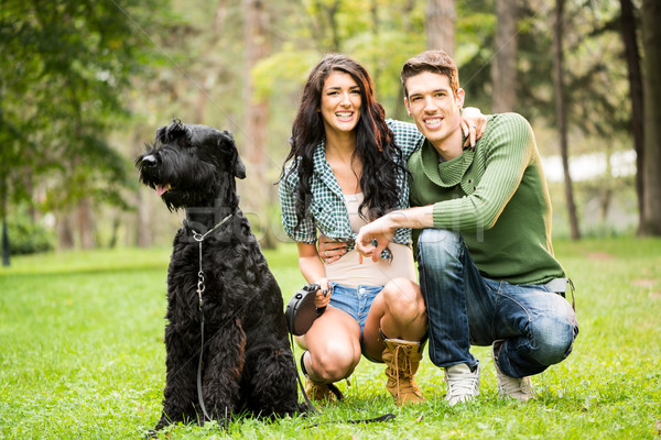 Young Couple With Black Giant Schnauzer Stock photo © MilanMarkovic78