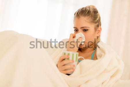 девушки красивая девушка носовой платок носа Кубок Сток-фото © MilanMarkovic78