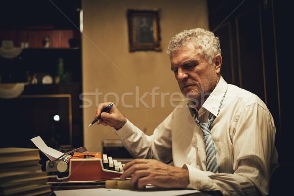 Retro Senior Man Writer Stock photo © MilanMarkovic78