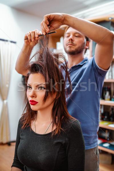 человека парикмахер прическа клиентов женщину Сток-фото © MilanMarkovic78
