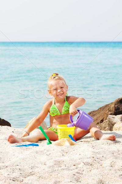 Stockfoto: Meisje · spelen · strand · emmer · spade · kinderen