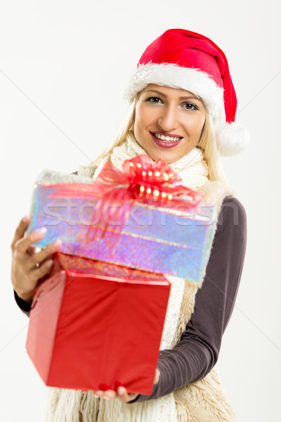 Cute Girl With Christmas Gifts Stock photo © MilanMarkovic78