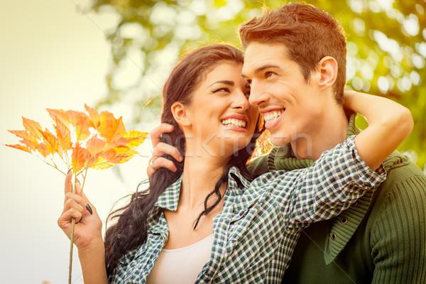 Fiatal pér szeretet közelkép fiatal heteroszexuális pár mosoly Stock fotó © MilanMarkovic78