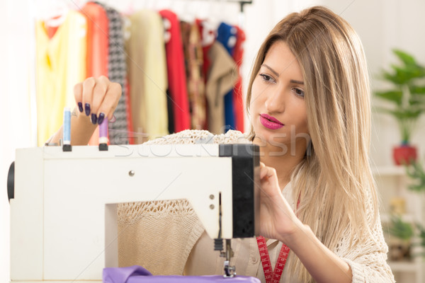 Girl With A Sewing Machine Stock photo © MilanMarkovic78