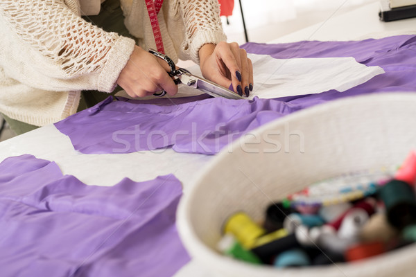 Close-up Of Female Tailor Hands Cutting Material Stock photo © MilanMarkovic78