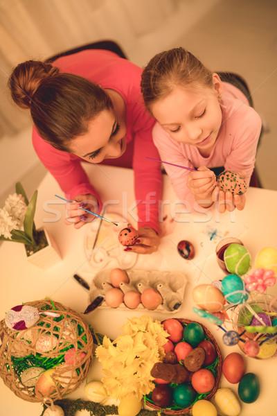 Boyama paskalya yumurtası güzel mutluluk anne kız Stok fotoğraf © MilanMarkovic78