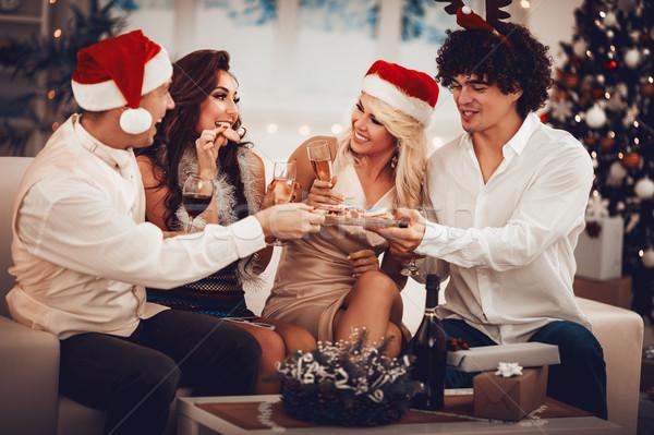 Сток-фото: веселый · Рождества · два · молодые · пару