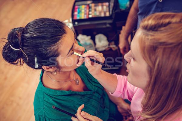 Gyönyörű csinos indiai nő smink sminkmester Stock fotó © MilanMarkovic78